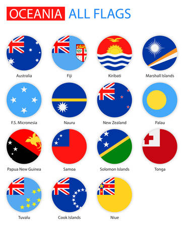 oceania: Flat Round Flags Of Oceania - Full Vector Collection. Vector Set of Oceanian Flag Icons: Australia and Oceania. Illustration