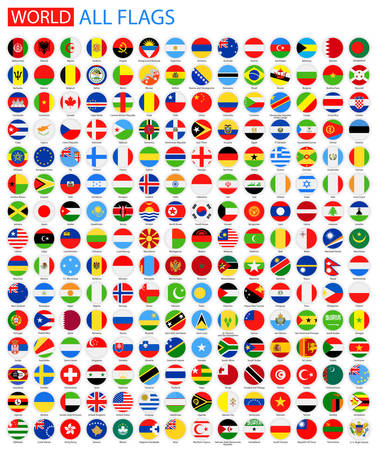 Rond plat All World Vector Flags. Vector Collection of Vlag Icons. Stock Illustratie