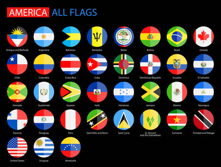 Flat Round Flags of America on Black Background - Full Vector Collection. Vector Set of American Flag Icons: North America, Central America, South America. Vectores