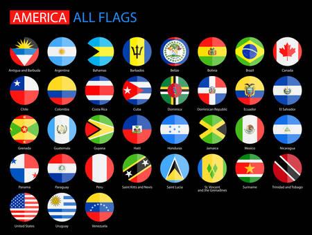 continente americano: Banderas plano y redondo de América sobre Negro Antecedentes - Colección completa del vector. Vector Conjunto de iconos de la bandera americana: América del Norte, América Central, América del Sur.