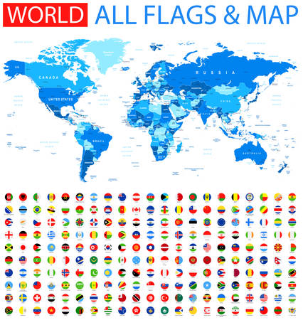 All Round Flags and World Map Illustration