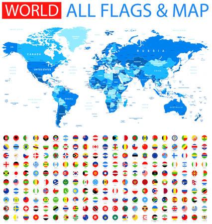 Wszystkie flagi okrągłe i mapa świata