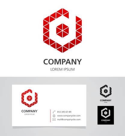 font design: Letter D - Logo Design Element with Business Card - illustration