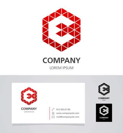 e card: Letter E - Logo Design Element with Business Card - illustration