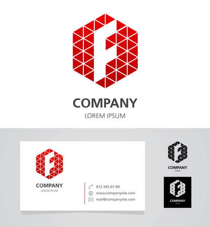Letra F - elemento de diseño de logotipo con tarjeta de visita - ilustración