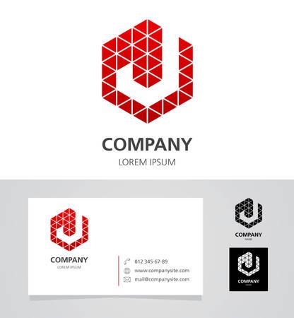 english alphabet: Letter J - Logo Design Element with Business Card - illustration