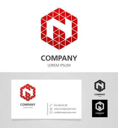 Letter N - Logo Design Element with Business Card - illustration