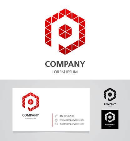 Letter P - Logo Design Element with Business Card - illustration