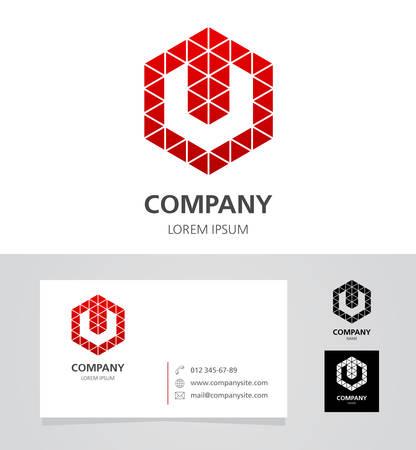 v shape: Letter V - Logo Design Element with Business Card - illustration Illustration