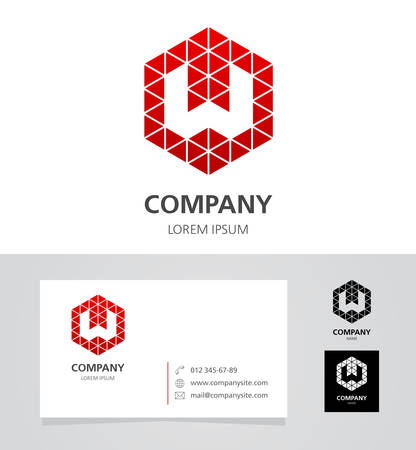 Letter W - Logo Design Element met Business Card - illustratie