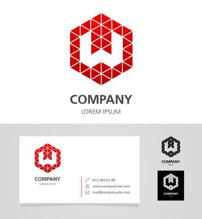Lettera W - Logo Design Elemento con Business Card - illustrazione Archivio Fotografico - 61631375