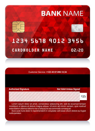 Credit Card with Abstract Polygon Pattern 矢量图像