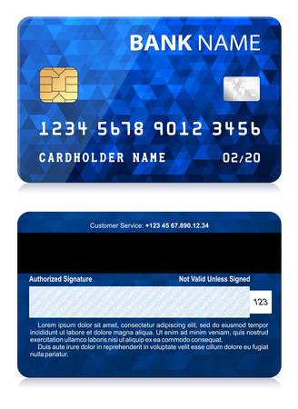 Tarjeta de crédito con el modelo abstracto del polígono Foto de archivo - 61826022