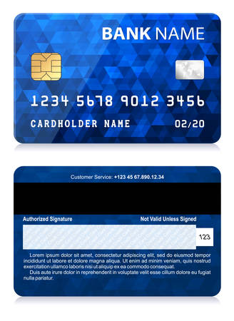 tarjeta de credito: Tarjeta de crédito con el modelo abstracto del polígono Vectores