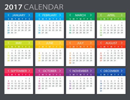 meses del a  ±o: Calendario 2017 - ilustración