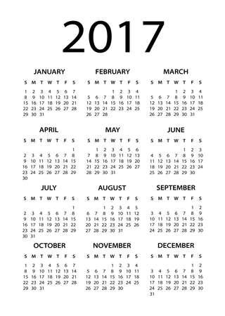 2017 Calendario Nero - illustrazione Archivio Fotografico - 61826055