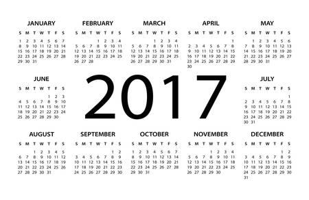electronic organizer: 2017 Calendar Black - illustration Illustration