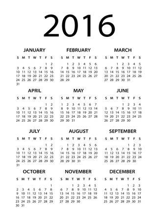 personal data assistant: 2016 Calendar Black - illustration