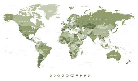 Swamp Green World Map - borders, countries and cities - illustration