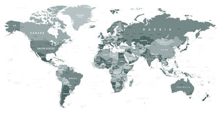 Grayscale World Map - borders, countries and cities - illustration Ilustração