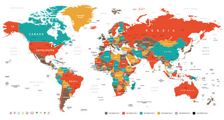 regions: Green Red Yellow Brown World Map - borders, countries and cities - illustration Illustration