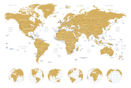 Golden World Map - borders, countries, cities and globes - illustration Stock Illustratie