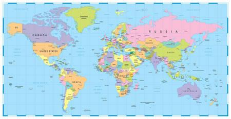 Barwne Mapa świata - granice, kraje i miasta - ilustracja Ilustracje wektorowe