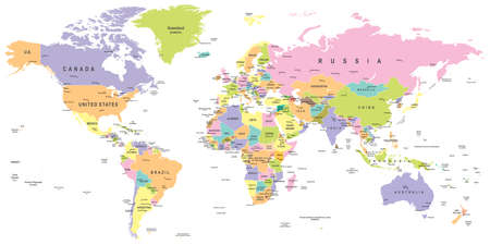 the americas: Colored World Map - borders, countries and cities - illustration Illustration
