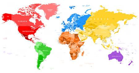 mar: Mapa del mundo de color - bordes, países y ciudades - ilustración Vectores