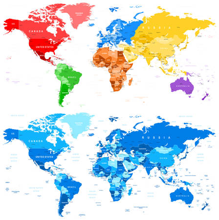 the country: Spotted Color and Blue World Map - borders, countries and cities - illustration