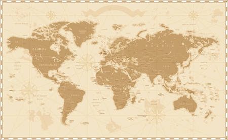 Old Vintage Retro World Map Фото со стока - 61826079
