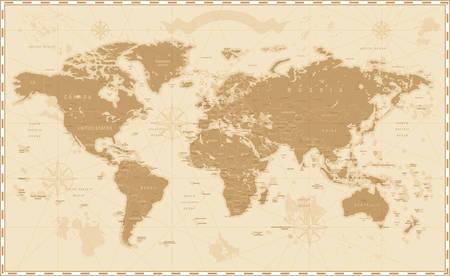 Vecchio retro Mappa del mondo Vintage Vettoriali