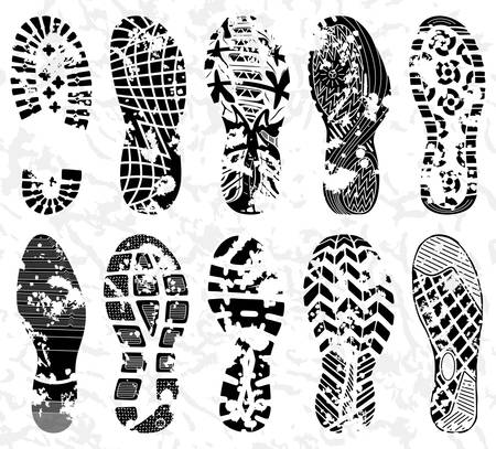Grunge Shoe tracks - Illustration Vetores