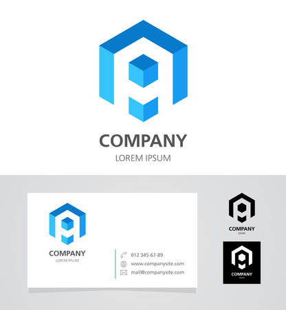 Letter A - Logo Design Element with Business Card - illustration Ilustracja