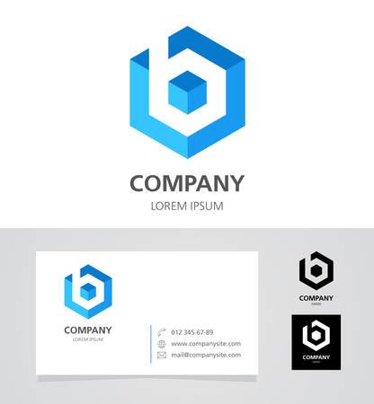 letras negras: Letra B - Logo Diseño de Elementos con la tarjeta de visita - ilustración