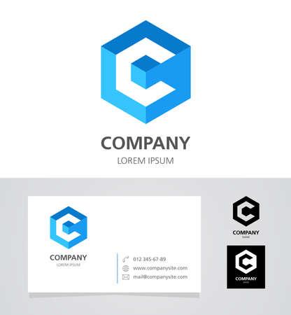 cubo: Letra C - Logo Diseño de Elementos con la tarjeta de visita - ilustración