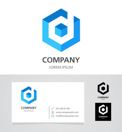 Letter D - Design Element with Business Card - illustration