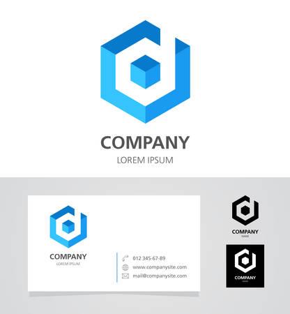 Letter D - Design Element with Business Card - illustration