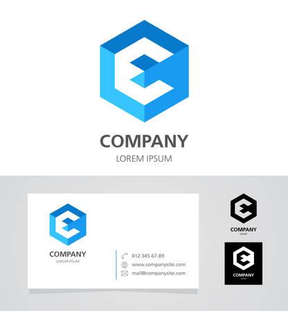 e card: Letter E - Design Element with Business Card - illustration Illustration