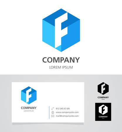 Letter F - Design Element with Business Card - illustration