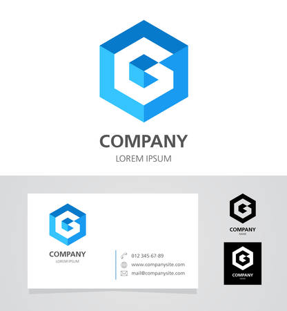 Letter G - Design Element with Business Card - illustration
