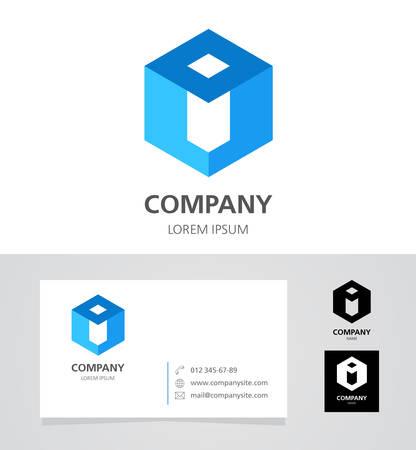 letter i: Letter I - Design Element with Business Card - illustration