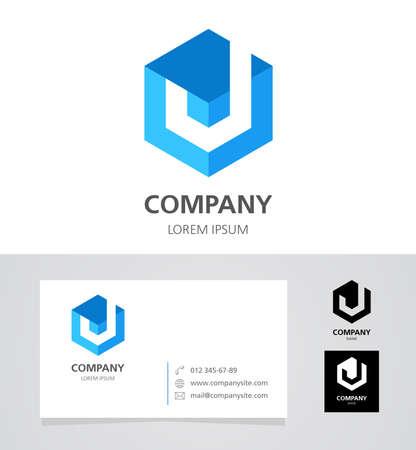 letter j: Letter J - Design Element with Business Card - illustration