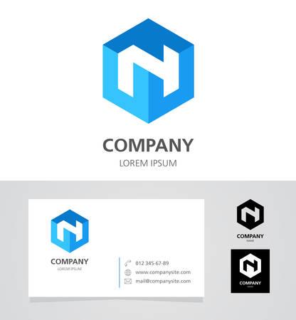 Letter N - Design Element with Business Card - illustration