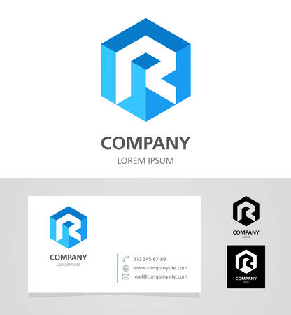 Letter R -  Design Element with Business Card - illustration Illustration