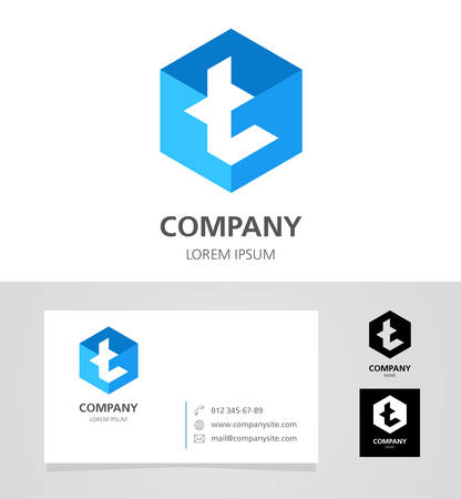 element: Letter T - Design Element with Business Card - illustration