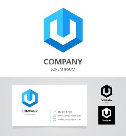 business letters: Letters UV - Design Element with Business Card