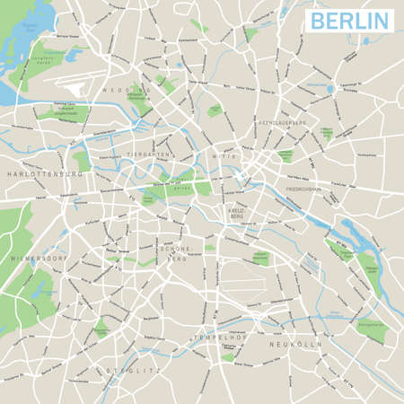 geographical locations: berlin map Illustration