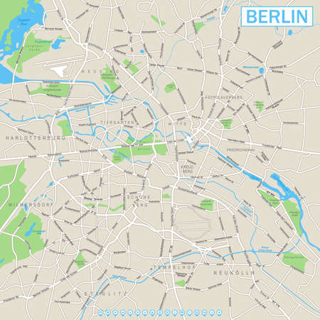 geographical locations: Berlin Map and Navigation Icons
