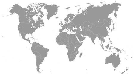 グレースケール世界地図 - イラスト